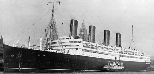 Cunard's Aquitania at Liverpool