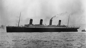 Titanic in Belfast Lough for trials